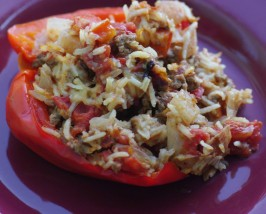 Ground Beef Stuffed Green Bell Peppers With Cheese. Photo by Redsie
