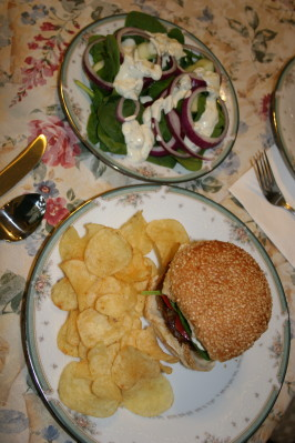 Danish Burgers W/  Herb Caper Sauce and a Mod Salad. Photo by Kymmarie