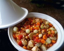 Easy Crock Pot Moroccan Chicken, Chickpea and Apricot Tagine. Photo by Bergy