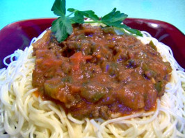 Turkey or Lean Beef Meat Sauce (Optional Crock Pot). Photo by Rita~