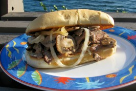 Leftover Steak Sandwich With Onions and Mushrooms. Photo by lazyme