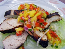 Grilled Lime-Cilantro Chicken With Mango Salsa. Photo by Rita~