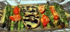 Asparagus, Mushroom and Tomato Bake With Seasoned Cheese Sauce. Photo by Summerwine