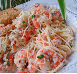 Kittencal's Lemon Shrimp Scampi With Angel Hair Pasta. Photo by Bev