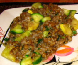 Lentil and Bulgur Pilaf With Green and Yellow Squash. Photo by KLHquilts