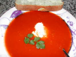 Tomato Cilantro Soup. Photo by Kumquat the Cat's friend