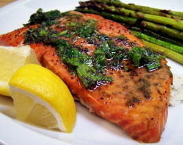 Grilled Cedar Plank Salmon With Lemon-Dill Topping. Photo by PaulaG
