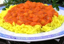 Chickpea Curry (Indian Style) over Basmati Rice. Photo by Kozmic Blues