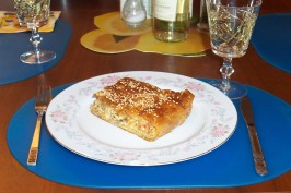 Melitzanopita (Greek Pie Using Eggplant (Aubergine) ). Photo by Irmgard