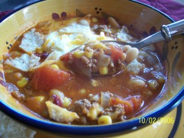 Taco Soup With Beans and Baked Tortillas. Photo by lazyme