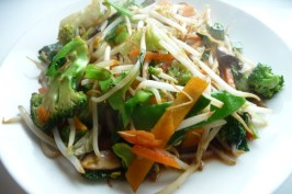 Stir-Fried Vegetables (Cabbage, Chinese Mushrooms, and Broccoli). Photo by Tea Jenny