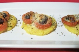 Polenta Pizzas With Roasted Tomatoes and Kalamata Olives. Photo by lauralie41