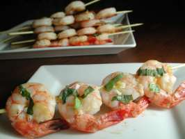 Lemon, Garlic and Basil Shrimp Skewers. Photo by Chef floWer