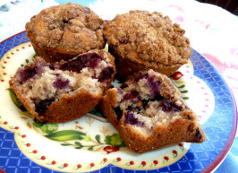 Kittencal's Muffin Shop Jumbo Blueberry or Strawberry Muffins. Photo by momaphet