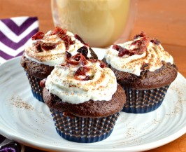 Super Bowl (Or Any Day) Chocolate Cupcakes W/Cabernet. Photo by May I Have That Recipe
