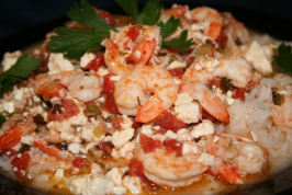 Prawns in Spicy Tomato Sauce With Feta Cheese. Photo by ~Nimz~
