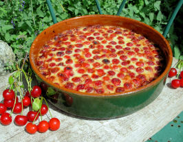 French Cherry Clafouti Pudding - French Cherry Custard Bake. Photo by French Tart