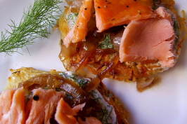 Potato Pancakes With Smoked Salmon. Photo by Zurie