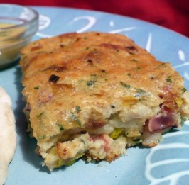 Scarborough Fair - Savoury Bacon, Onion and Herb Bread Pudding. Photo by twissis