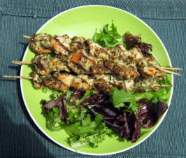 Chicken Skewers With Zathar (Thyme and Sesame Marinade). Photo by Salesgirl