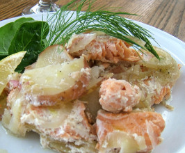 Saucy Salmon, Fennel and Potato Gratin Dauphinoise. Photo by Kathy228