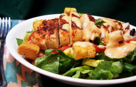 Southwestern Chicken Caesar Salad With Chipotle Dressing. Photo by PaulaG