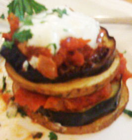 Turkish Eggplant and Potato Kizartma With Tomato Iskender Sauce. Photo by Mivashel