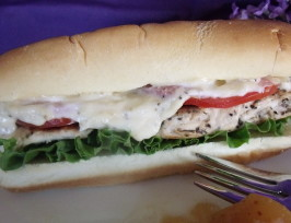 Lemon Oregano Chicken Baguette With Roast Garlic Mayonnaise. Photo by Darkhunter