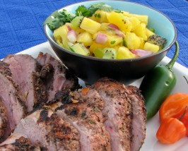 V's Grilled Jerk Pork Tenderloin and Pineapple Mango-Kiwi Salsa. Photo by lazyme