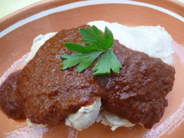 Oaxacan Red Mole Sauce (Mole Coloradito). Photo by cookiedog