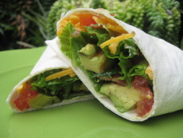 A Fun and Frolic Kind of Avocado, Bacon, and Tomato Wrap Yippee!. Photo by gailanng