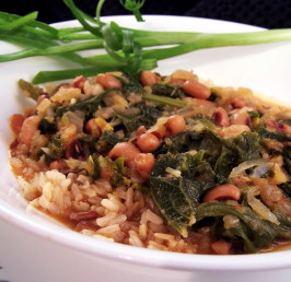 Black-Eyed Peas With Mustard Greens and Rice. Photo by PaulaG