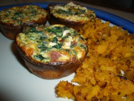 Claudia's Low Fat Spinach & Bacon Quiche Muffins. Photo by AnnieLynne