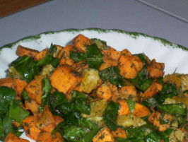 Wilted Spinach Salad With Roasted Kumara (Sweet Potato). Photo by WiGal
