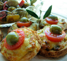 Mini Cheese and Olive Welsh Rarebit Bites for Festive Frolics!. Photo by French Tart