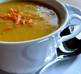 Christmas Clementine, Carrot and Coriander Soup W/ Citrus Twists. Photo by French Tart