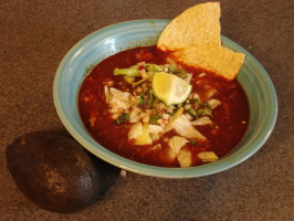 Pozole Rojo - Pork and Hominy Stew. Photo by Muffin Goddess
