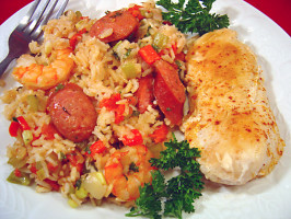 Chicken, Shrimp and Andouille Jambalaya. Photo by Sue Lau