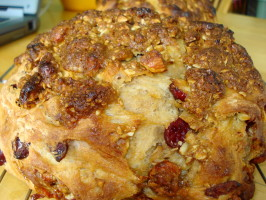 Crusty Cranberry Bread With Caramel Almonds (Almost No Knead). Photo by C. Taylor