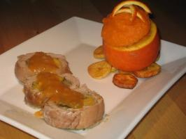 Caribbean Stuffed Pork With Orange Sweet Potatoes and Plantains. Photo by The Flying Chef