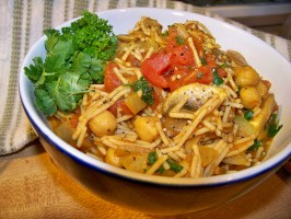 Moroccan Spaghetti  (Very Low Fat and Healthy). Photo by Prose