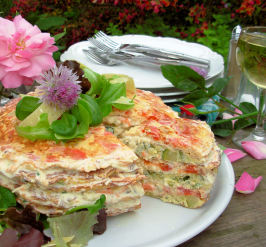 A French Country Affair! Elegant Omelette Gateau W/Chive Flowers. Photo by French Tart