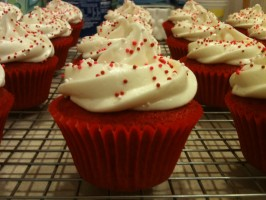 Bobby Flay Throwdown Red Velvet Cupcakes and Cream Cheese Icing. Photo by LJCupcake