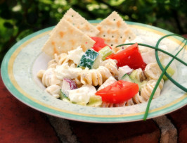 Kittencal's Creamy Greek-Style Pasta Salad. Photo by Andi of Longmeadow Farm