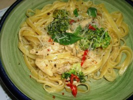 Creamy Pasta With Chicken, Broccoli and Basil - Low Fat Version. Photo by Karen Elizabeth