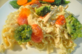 Creamy Pasta With Chicken, Broccoli and Basil - Low Fat Version. Photo by I'mPat