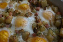 Baked Brie, Potatoes, Ham and Eggs. Photo by Rollin in the Dough!