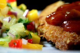 Crispy Coconut Chicken With Mango Salsa. Photo by Chef floWer