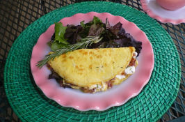 Caramelised Onion & Goats Cheese Omelette. Photo by Julie B's Hive