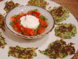Zucchini and Sumac Fritters With Tomato and Mint Salsa. Photo by Sue Lau